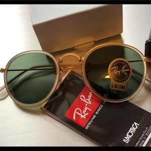 New Authentic Ray-Ban ROUND FOLDING RB3517